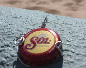 Wire Wrap SOL beach beer bottle pendant