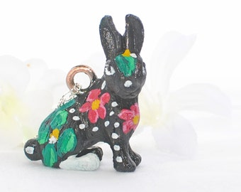Black Rabbit Bunny Necklace Hibiscus - Painted Rabbit - Bunny Rabbit - Bunny Pendant - Rabbit Jewelry - Pet Rabbit - Rabbit Necklace -Nature