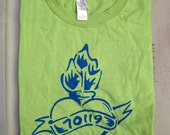 70119 Mid-City New Orleans neighborhood t-shirt kiwi green flaming heart