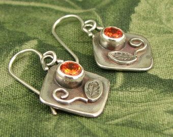 GEM style Square Flower Earrings with Orange CZ faceted stones - dainty OOAK
