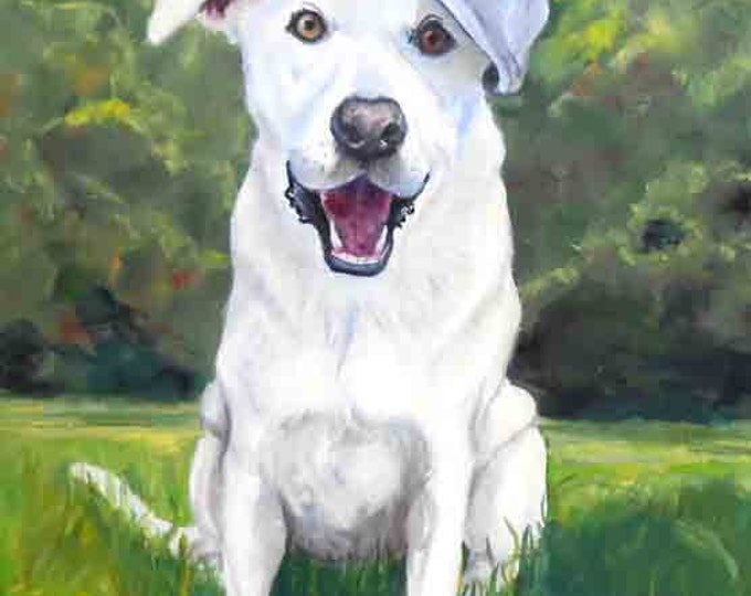 Labrador Retriever Oil Painting Portrait on Canvas, Various Sizes Gift Certificate