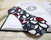 Mod Book Weight - Black, White, Grey, Gray, Red - Abstract Fabric - Handmade Bookweight