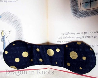 Moon Book Weight - Navy Blue Japanese Fabric - Shimmering Gold Circles - full moon page holder