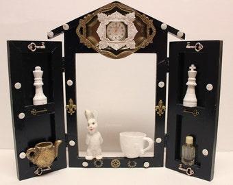Alice in Wonderland, Shrine, Assemblage, Mixed Media, Winjimir, W.Rosson, OOAK, Recycled Art, Junk Art, Gift