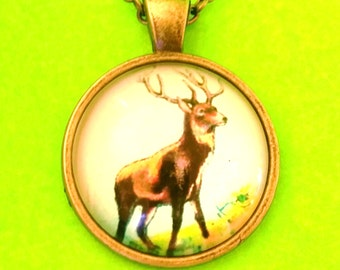 Wapiti Wild and Free Elk Nature Inspired Glass Pendant Necklace