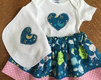 Baby Girls 3 Piece Skirt, Gerber Onesie & Bib Set 3-6M Teal n Pink Stars n Moon Print