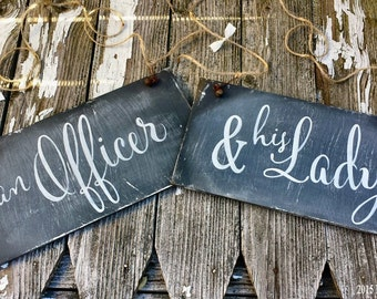 Chalkboard Wedding Chair Signs | Military Wedding Decor | An Officer & His Lady | Wedding Signs | Reversible Signs |  Rustic Wedding Signs