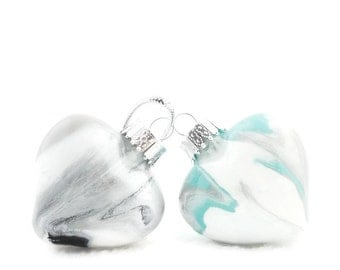 Glass Heart Ornament Painted Inside Glass Black Silver Gray White or Silver Turquoise White Christmas