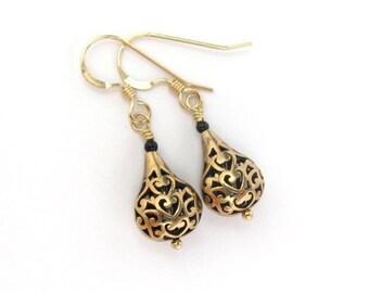 Bohemian Earrings, Antiqued Bronze and Black Onyx Earrings, 14K Gold Fill Wires, Teardrop Dangle, Bridesmaid Gift, Bridal Jewelry Wedding