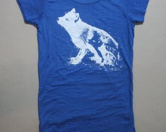 thanksgiving etsy, fox t-shirt, blue burnout fox, blue fox tee, women's fashion, blue burnout t-shirt, psychedelic - S-XL