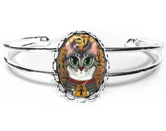 Egyptian Bast Cat Bracelet Egypt Bastet Goddess Cat Fantasy Cat Silver Art Cat Cameo Bracelet 25x18mm Gift for Cat Lovers Jewelry