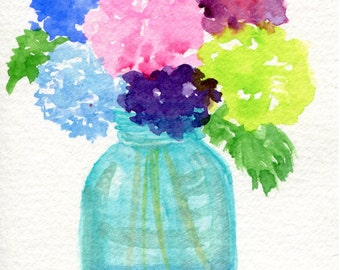 Hydrangeas watercolor painting, Original still life flowers painting in canning jar 4 x 6 Flowers in Aqua Mason jar, floral , hydrangea art