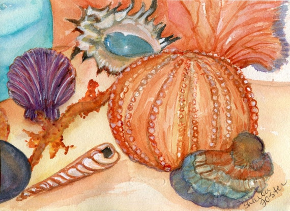 Seashells watercolors painting, original painting of seashells, coral, sea fan, glass fishing float, 5 x 7,  watercolor of shells