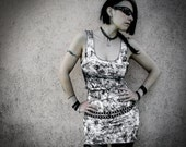 DUSTY - Mini Dress Tube Goth White Decay Post Apocalyptic Punk Tie-Dye Vest