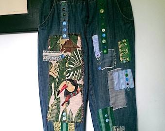 Patched Denim Pants, Toucan, Vintage Buttons, Applique, Blue, Casual, Boho