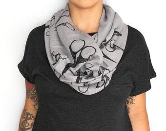 Gray Infinity Slub Knit Jersey Scarf with Scissors Screenprint