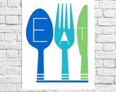 "Eat Print Blue & Green Kitchen Decor Kitchen Wall Art Fork Spoon Knife Artwork Colorful Home Decor 8.5"" x 11"" Paper Print Utensils Eat Sign"
