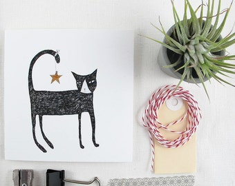 Christmas Card: Cat with Star
