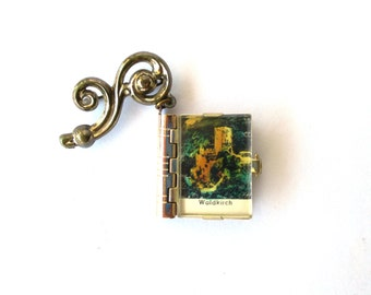 Book Brooch Miniature Book Vintage Pin Brooch Castle Photos Brooch Books Unique Travel Souvenir Gift Ideas Silver Hatpin Black Forest