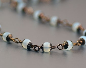 Matte Opal Cultured Sea Glass and Antiqued Brass Necklace