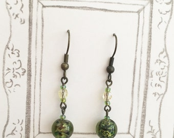 Green Lampwork Glass Earrings, Antique Brass Earrings, Long Dangle Earrings, Unique Earrings, Christmas Gift, Birthday Gift
