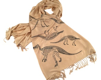 Dinosaur Scarf. Scelidosaurus fossil bones, paleontology pashmina. Choose sandy beige & more. Science, natural history, geology gift.