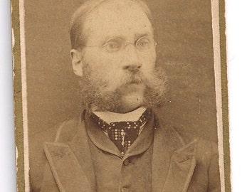 Mustache facial hair beard glasses dapper man cigarette card