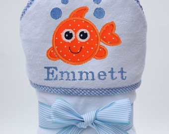 Hooded Towel Personalized with Goldie the Fish for Baby Boys and Toddler Boys
