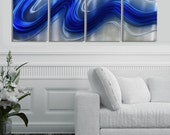 Blue & Silver Abstract Metal Wall Art - Home Decor Accent - Contemporary Metal Wall Sculpture - Office Art -  Electric Blue 4 by Jon Allen