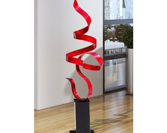 Large Red Modern Metal Sculpture, Abstract Indoor-Outdoor Metal Art, Contemporary Garden Art Decor - Red Perfect Moment by Jon Allen