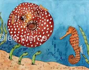 Mexican Standoff original watercolor SFA undersea encounter