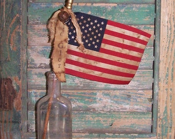 Rustic American Flag - OLD GLORY Stick Flag Parade Flag Primitive Flag Primitive American Flag Americana Decor Rustic Flag - Ready to Ship