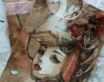 Postcard - The Swan - Steampunk - Victorian Fashion - Art Card - Greeting Card