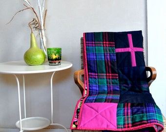 Patchwork Modern Quilt Plaid Wool Cotton Print Couch Size Throw Original Design