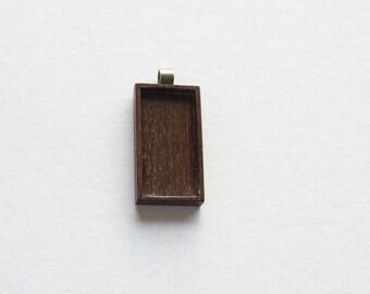 Pendant blank finished hardwood USA - Walnut - 19 x 38 mm - Rectangle - Brass Bail - (F6-W)