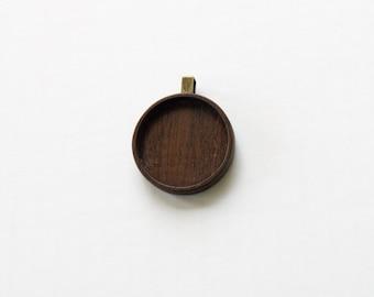 Pendant Blank - Pendant Tray - Handcrafted by ArtBASE - Walnut - Circle - 30 mm - Brass Bail - (Z30-W)