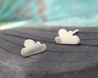 Tiny Cumulous Clouds sterling silver hand pierced earrings