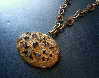 reduced - weep- antique victorian brass filigree locket amethyst and clear stones - romantic vintage repurposed jewelry