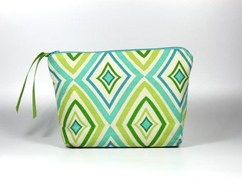 25% Off Sale: Blue and Green Diamond Zipper Pouch
