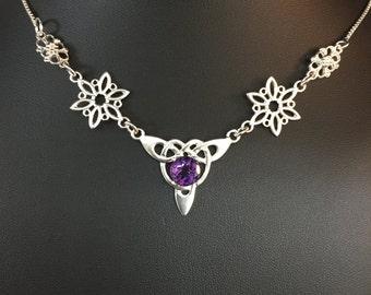 Celtic Irish Gemstone Pendant Necklaces, Handmade Boho Statement Necklace, Box Chain, OOAK Celtic Necklace, Bridal Necklace, Sterling Silver