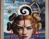 The Wheel of Fortune - TAROT art by Tanya Bond - fantasy clown carnival portrait sky divination girl pop surrealism