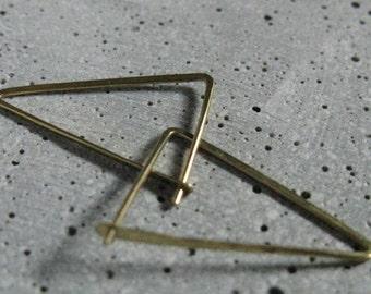 Elegant minimalist triangle earrings, geometric modern hoop earrings, fine thin hoops in gold tone brass, edgy simple earrings