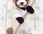 Red Panda with Karate Gi Knitting Pattern