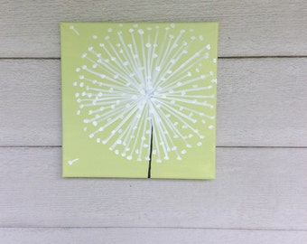 Dandelion Painting-Dandelion Art-Nursery Wall Art-Nursery Decor -Whimsical Painting -Nursery Art-Pistachio 12x12