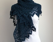 Crochet Lace Shawl Scarf Wrap Cowl, Stylish Comfort Prayer Meditation, Women's Fashion, Heathered Green, Ready to Ship FREE SHIPPING