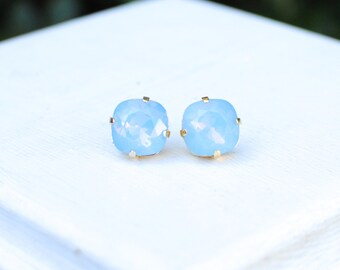 Light Blue Post Earrings - medium size. Bridesmaids Earrings.