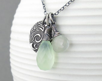 Gray Moonstone Necklace Green Chalcedony Necklace Long Silver Necklace Pendant Pastel Jewelry Gemstone Jewelry Handmade Jewelry - Duets
