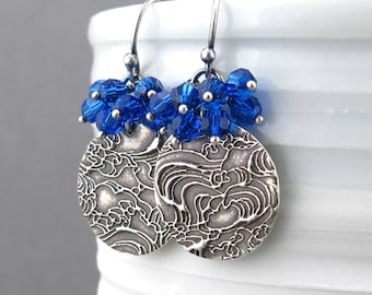 Blue Earrings Crystal Dangle Earrings Silver Earrings Crystal Cluster Earrings Beach Jewelry Bohemian Jewelry Handmade Jewelry - Lily