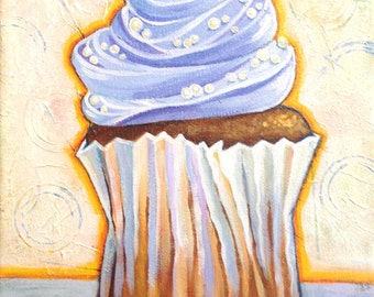 BLUE FROSTING - 8x10 Original Painting - Mixed Media