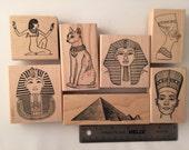 DESTASH lot of 7 rubber stamps, Egyptian Collection, Pharo, Pyramid, King, mint condition, Rubber Hedgehog, Judikins, Toybox, Just For Fun